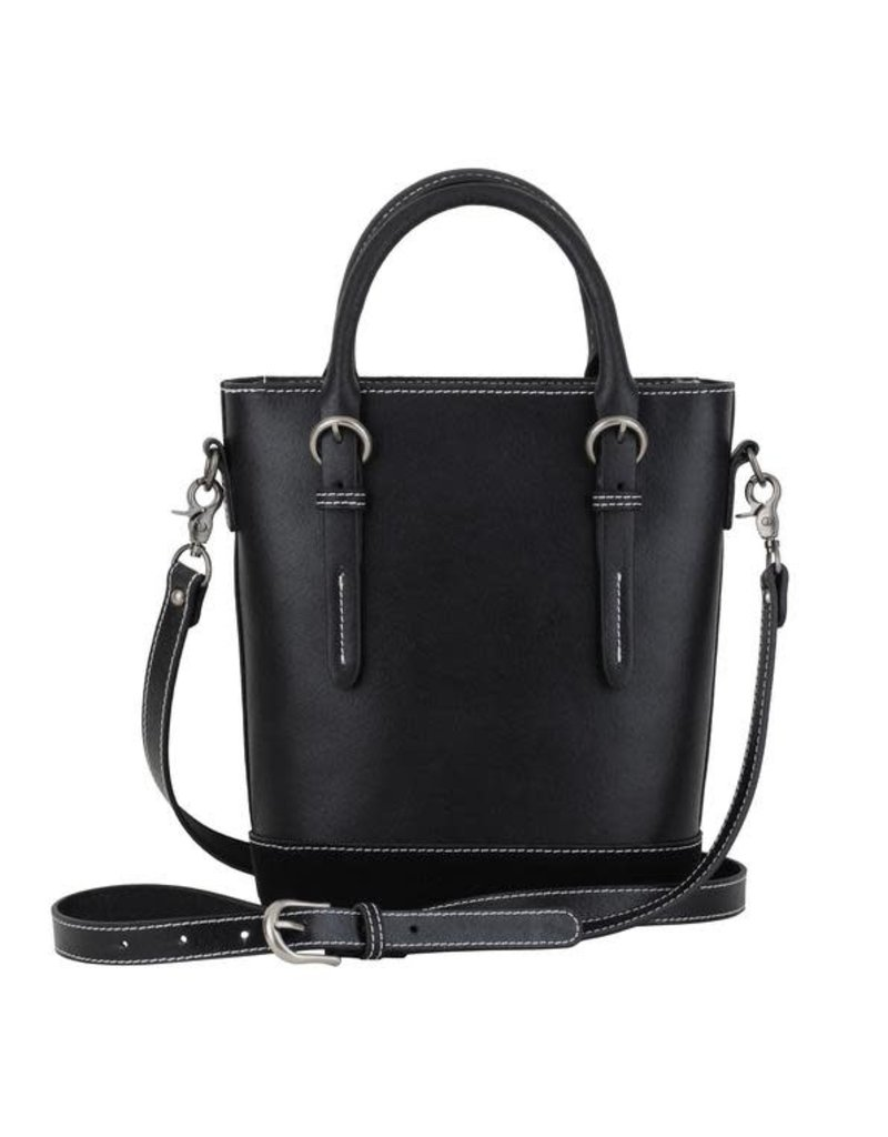 Black Stitched Top Handle Crossbody Leather Bag