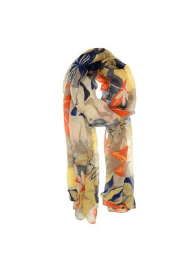 Joy Susan Yellow & Navy Traopical Fauna Scarf