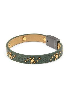 Joy Susan Green Suede Gold Star Bracelet