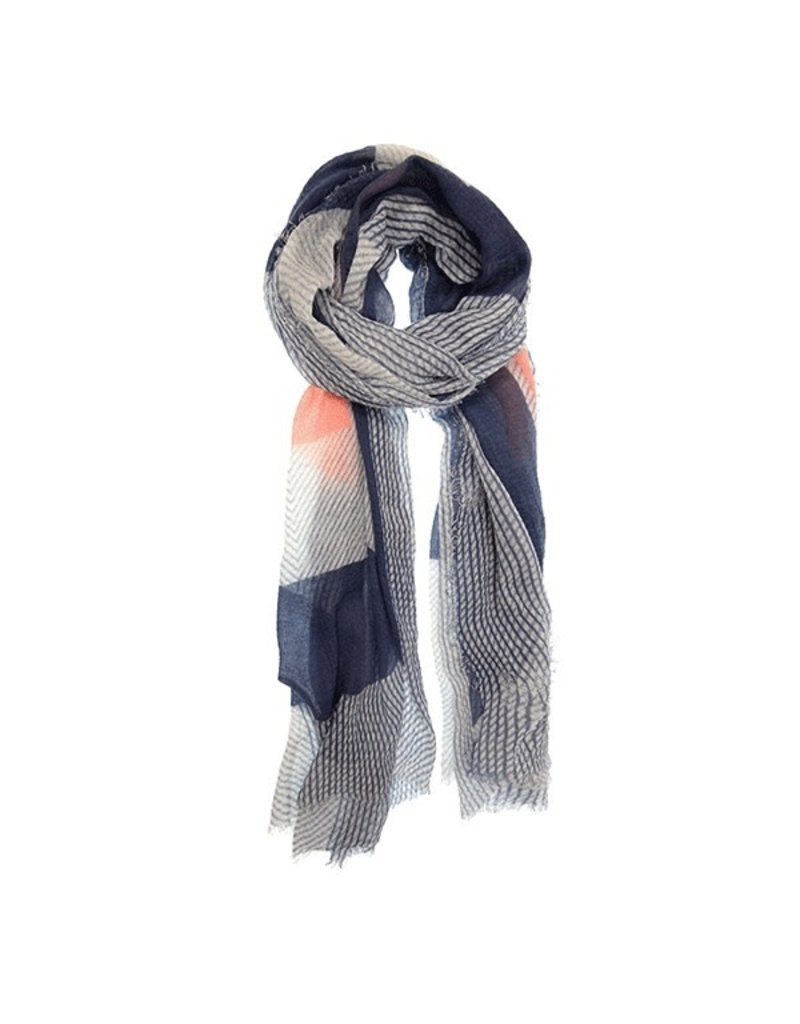 Joy Susan Navy Seersucker Geometric Scarf