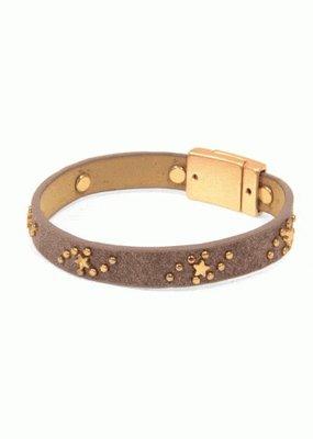 Joy Susan Taupe Suede Gold Star Bracelet