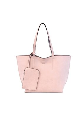 Joy Susan Barely Pink Grey Carly Brushed Reversible Tote