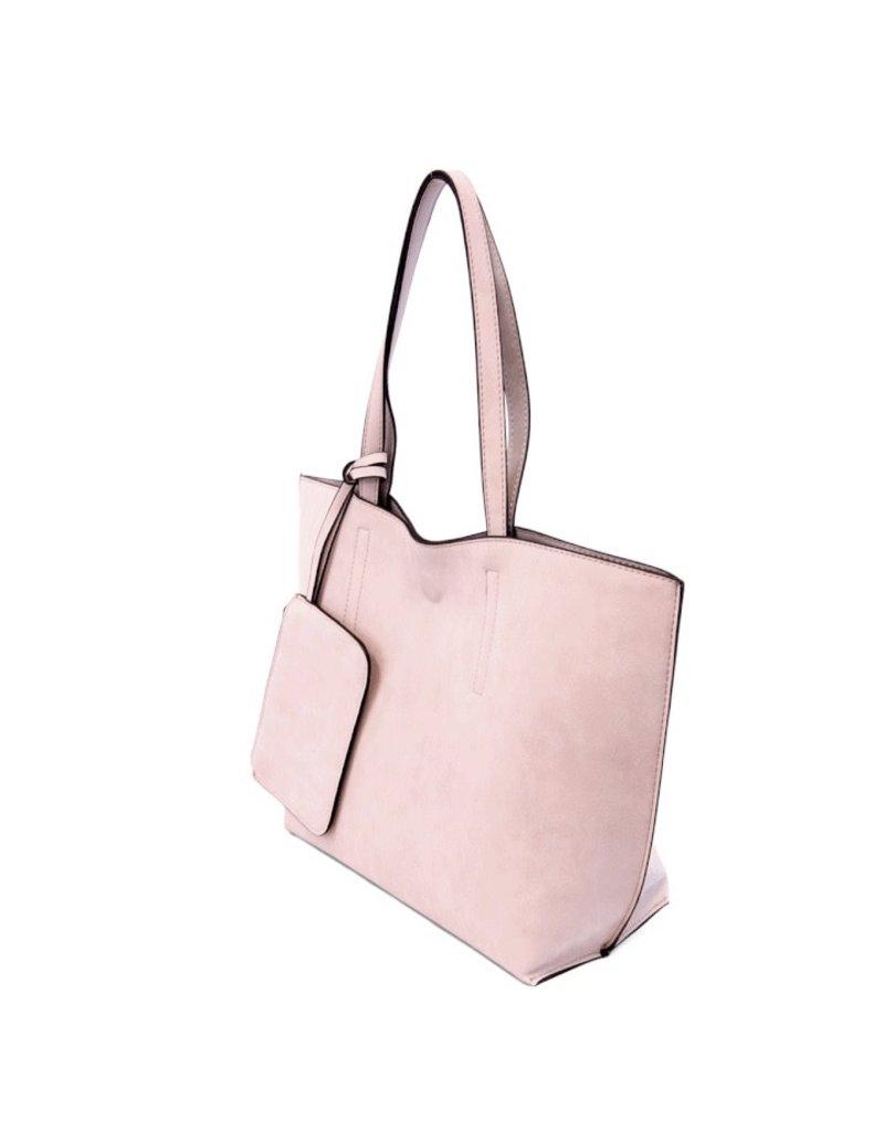 Joy Susan Barely Pink Grey Carly Brushed Reversible Tote
