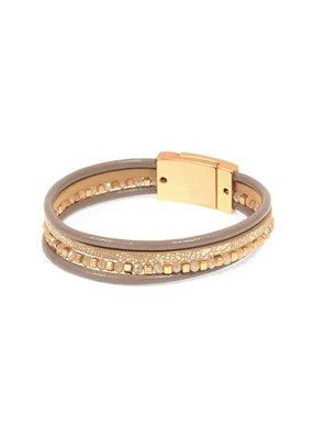 Joy Susan Taupe Crystal & Silver Beads Leather Bracelet