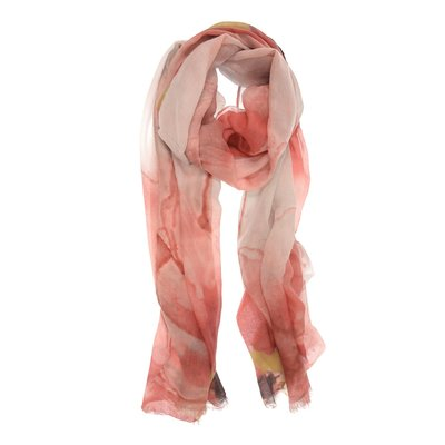 Joy Susan Coral Hazy Flower Scarf