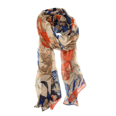 Joy Susan Navy & Orange Tropical Fauna Scarf