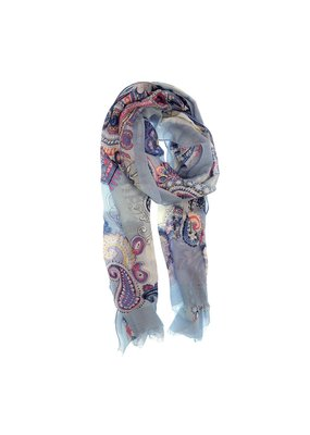 Joy Susan Light Blue & Fushia Paisley Scarf