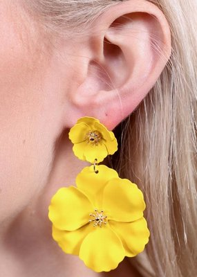 Caroline Hill Yellow Double Flower Post Drop Earring