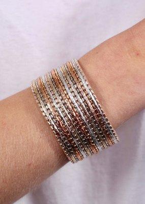 Caroline Hill Tri-Color Cross Beaded Magnetic Bracelet