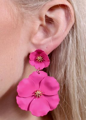 Caroline Hill Pink Double Flower Post Drop Earring