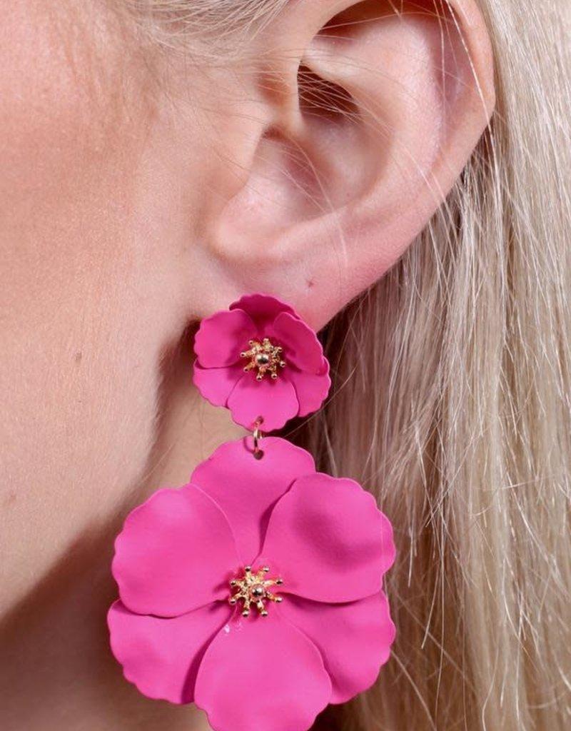 Caroline Hill Pink Double Flower Post Drop Earring