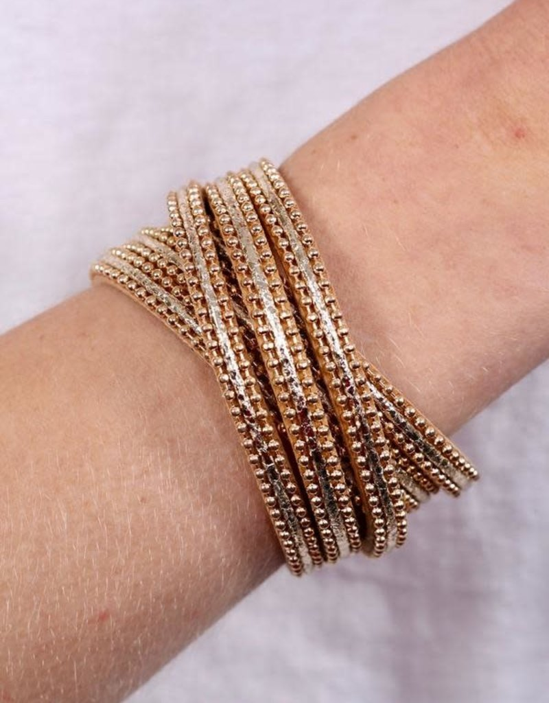 Caroline Hill Gold Cross Beaded Magnetic Bracelet