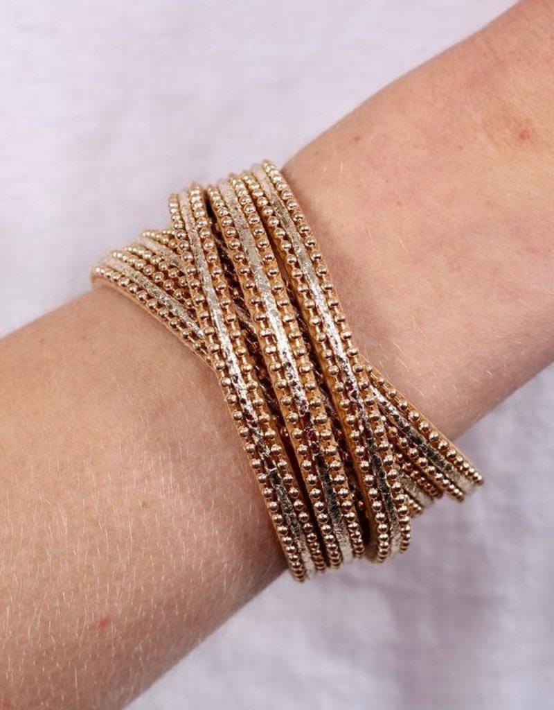 Gold Cross Beaded Magnetic Bracelet