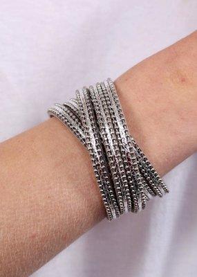 Caroline Hill Silver Cross Beaded Magnetic Bracelet