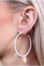 White Threaded Hoop Shell Earrings