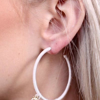 White Threaded Hoop w Three Shells Earring