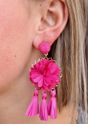 Caroline Hill Hot Pink Flower and Rafia Tassel Drop Earring