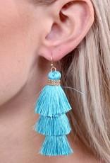 Caroline Hill Aqua Triple Tassel Drop w Gold Accent Earrings