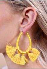 Yellow Teardrop Tassels Earrings