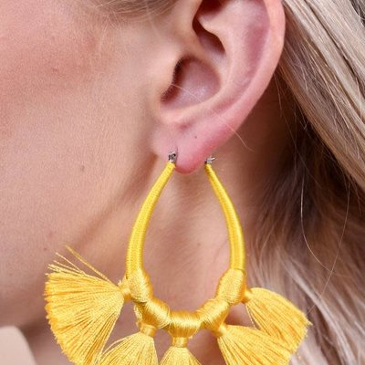 Yellow Thread Wrapped Teardrop w Tassels Earring