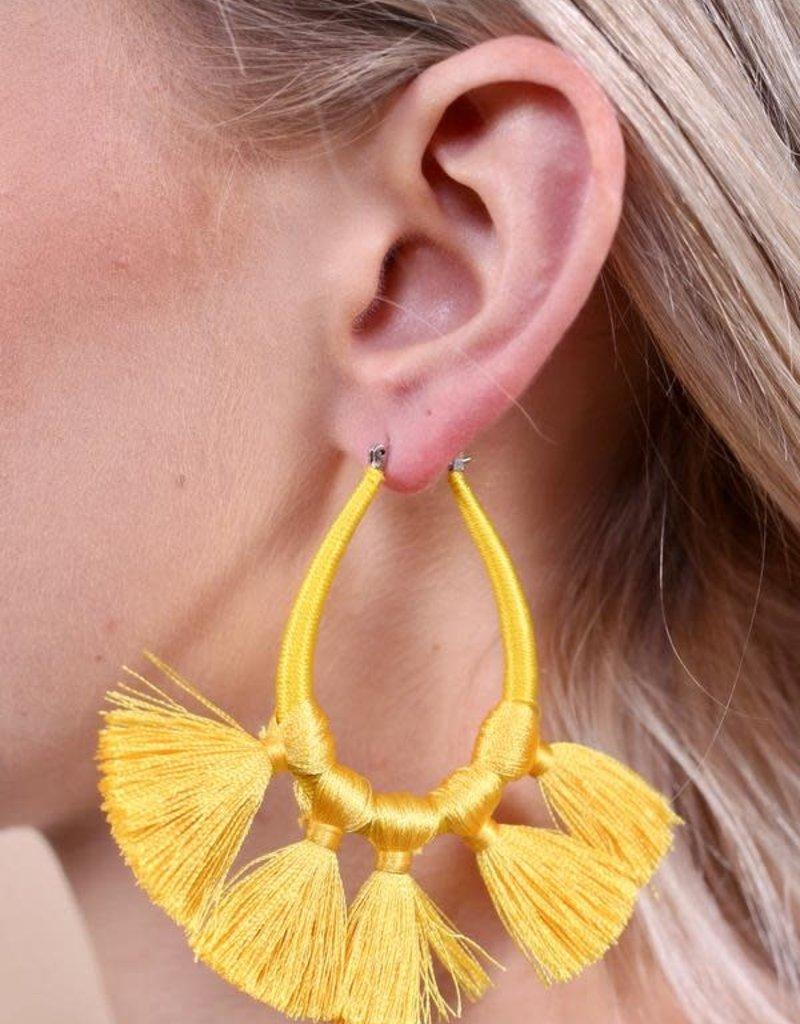 Yellow Thread Wrapped Teardrop w Tassels Earring