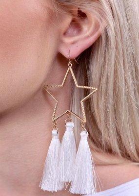 Caroline Hill Gold Open Texture Star w Three White Tassels Earring