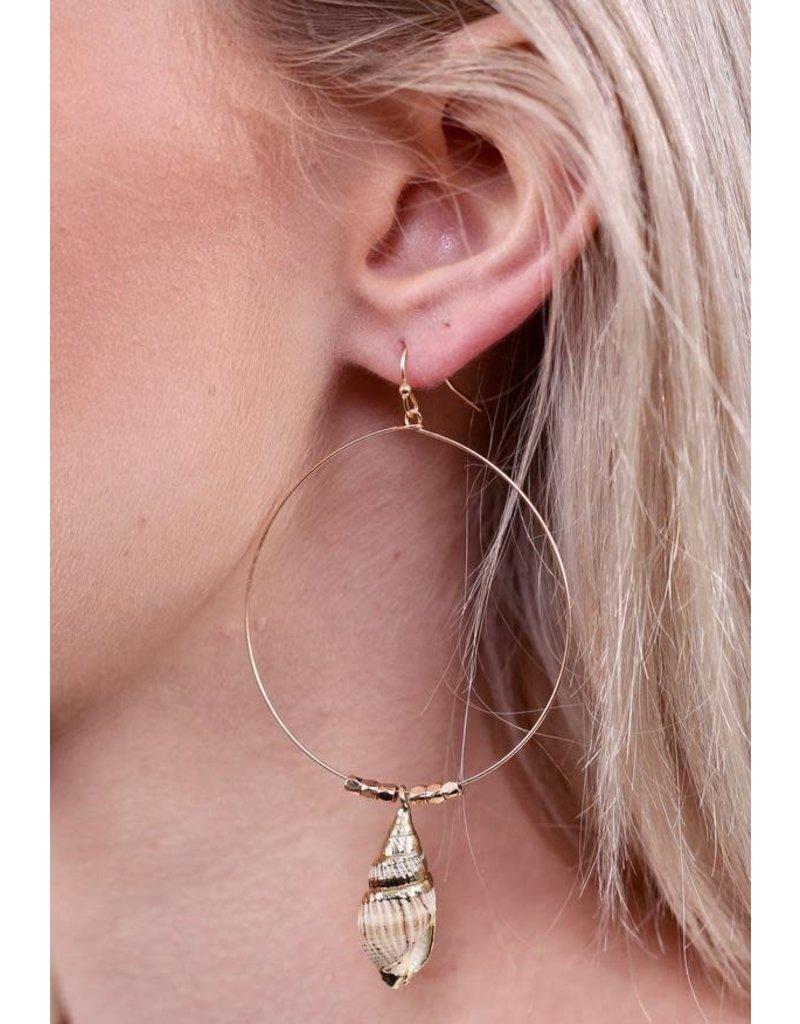 Gold Wire Hoop Shell Earrings
