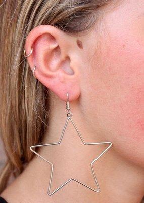 """Caroline Hill Silver Big Open Star 2"""" Drop Earring"""