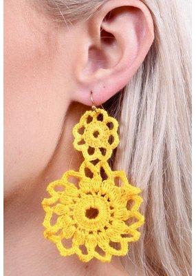Yellow Crochet Circle Drop Earring