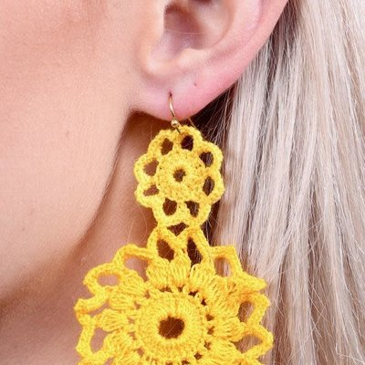 Yellow Crochet Double Circle Drop Earring