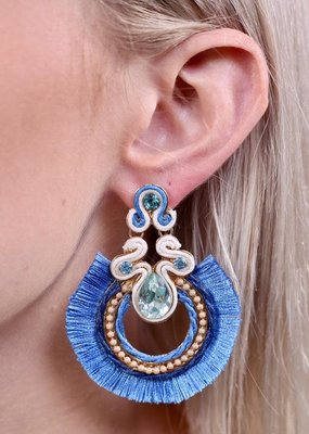Caroline Hill Periwinkle Embellished Stones w Tassel Fringe Earring