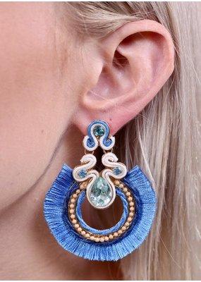 Periwinkle Embellished Tassel Fringe Earring