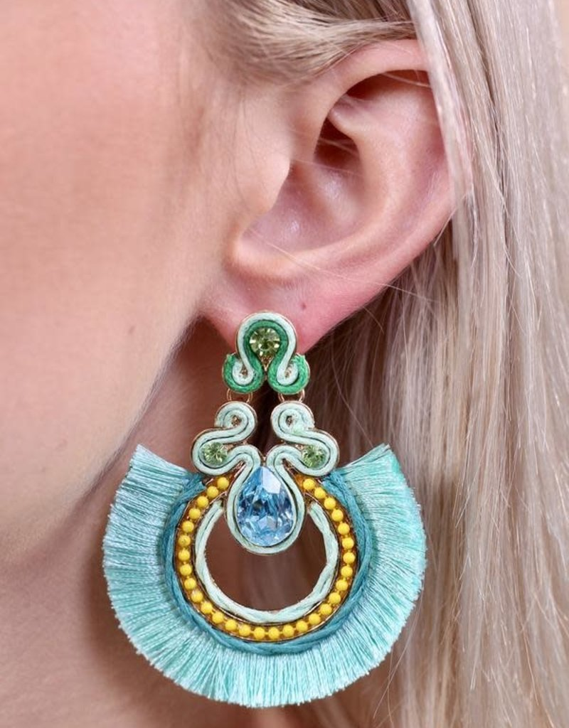 Caroline Hill Mint Embellished Stones w Tassel Fringe Earring