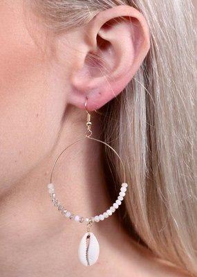 Caroline Hill Wire Hoop w Crystal Beads & Drop Shell Earring