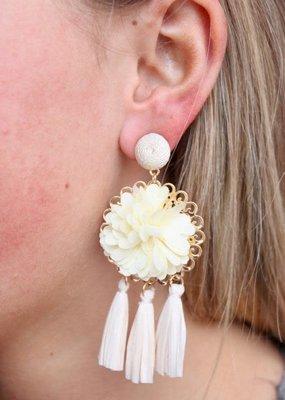Caroline Hill Ivory Flower and Rafia Tassel Drop Earring