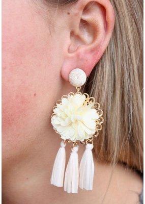 Ivory Flower Rafia Tassel Drop Earring