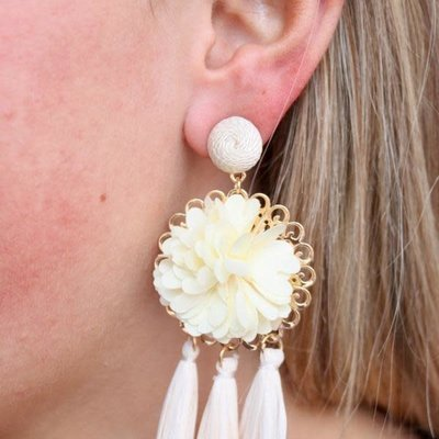 Ivory Flower and Rafia Tassel Drop Earring