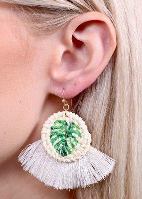 Caroline Hill Woven Straw Circle w Palm Leaf & Fringe Earring