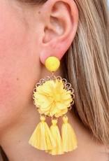 Yellow Flower and Rafia Tassel Drop Earring