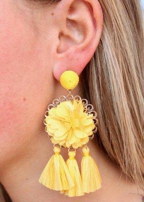 Caroline Hill Yellow Flower and Rafia Tassel Drop Earring