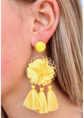 Yellow Flower Rafia Tassel Drop Earring