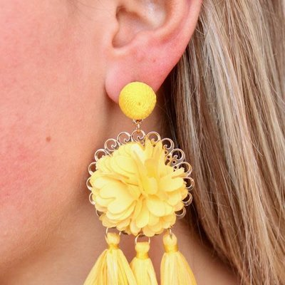Yellow Flower and Rafia Tassel Drop Earring