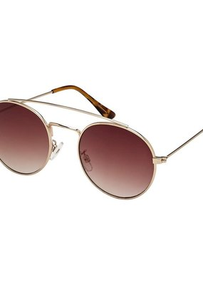 Blue Gem Rounded Aviator Rose Gold w Gradient Smoke Lens