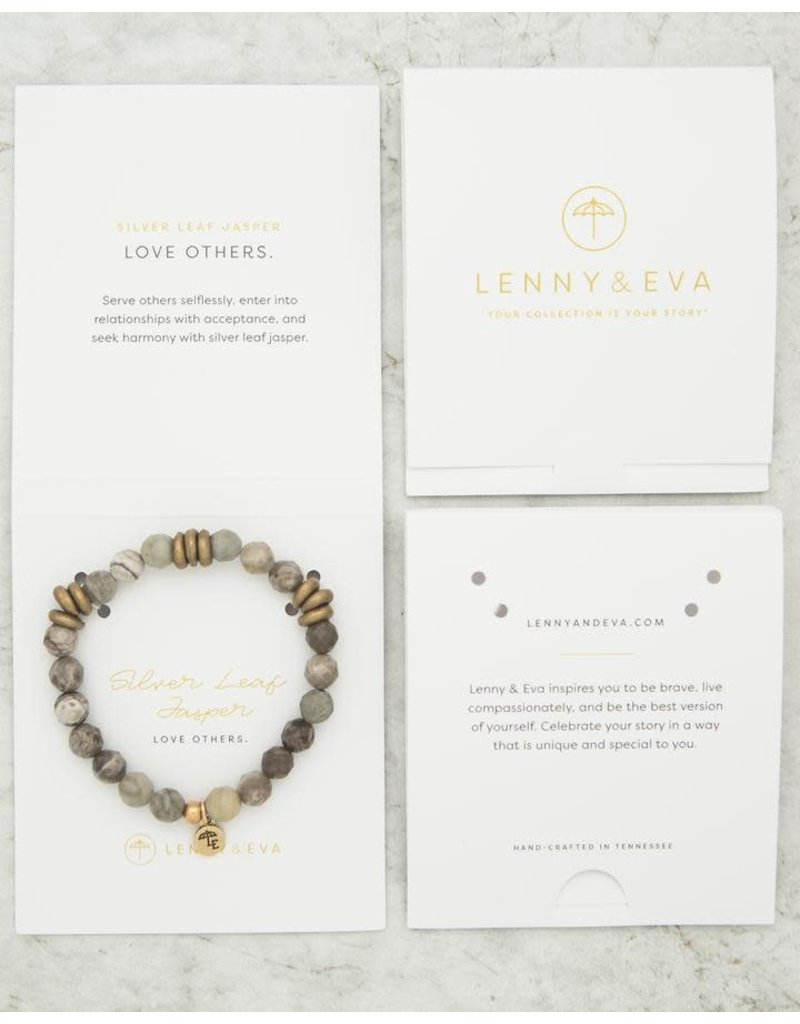 Lenny & Eva 8mm Gemstone Bracelet Silver Leaf Jasper