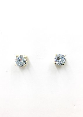 Sterling Silver Gold  Plated Round 6mm CZ Stud