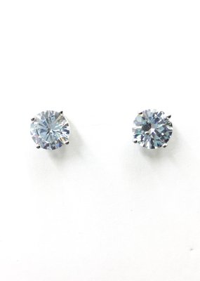 Sterling Silver Round 8mm CZ Stud