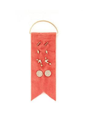 Splendid Iris 4 Sets Of Rose Gold Earrings On Rose Velvet Ribbion