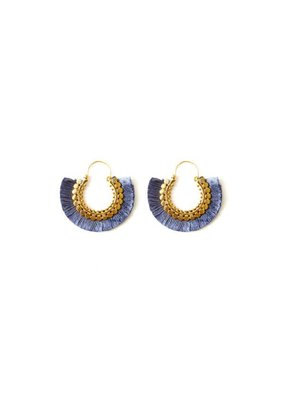 Splendid Iris Grey Round Fringe Earrings