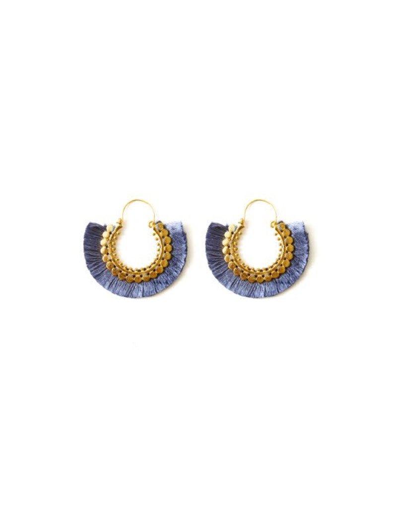 Splendid Iris Grey Round Fringe Earrings