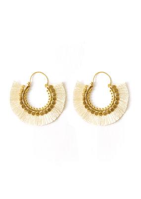 Splendid Iris Ivory Round Fringe Earrings